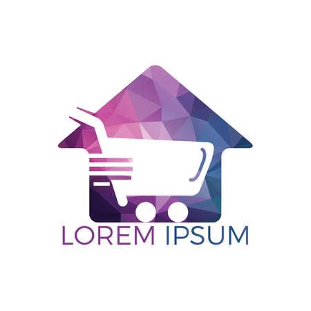 Home shopping cart logo concept design. Shop home logotype. Home market logo design template.