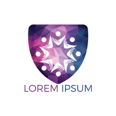 Community abstract logo. Happy People logo. Teamwork symbol. Social logo. Partnership people icon.