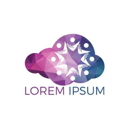 Community cloud abstract logo. Happy People logo. Teamwork symbol. Social logo. Partnership people icon.