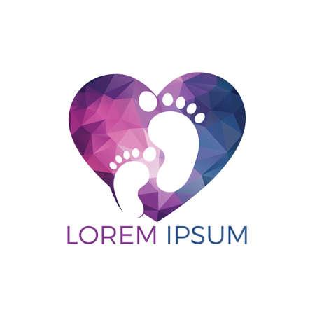 Füße und Herz-Vektor-Logo-Design. Fußpflege und Lifestyle-Logo-Design. Logo-Design für Massage und Fußpflege.