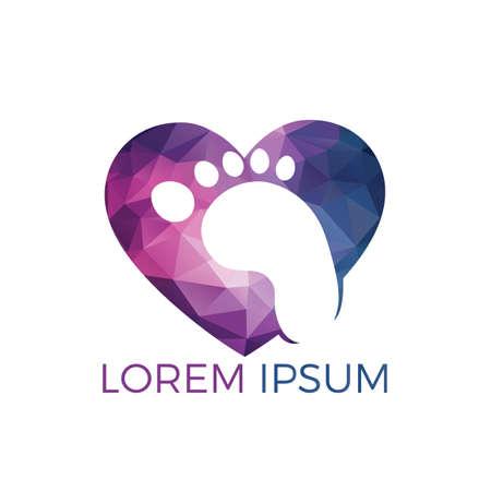 Feet and heart vector logo design. Foot care and lifestyle logo design. Massage and foot care logo design.