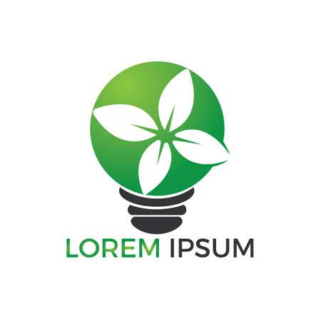 Green light bulb plant symbol logo vector. Logo of green energy. Stylized eco logo biofuel. Renewable green energy logo design.  イラスト・ベクター素材