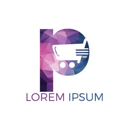 Disegno di marchio di lettera P Shopping. Icona e sorriso variopinti astratti del carrello. Logo per lo shopping dell'app. Logo