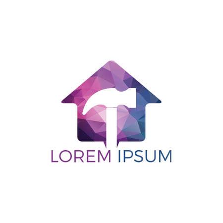 Hammer With Home Logo Design. Renovation or repairment vector logo design concept. Home service logo template.