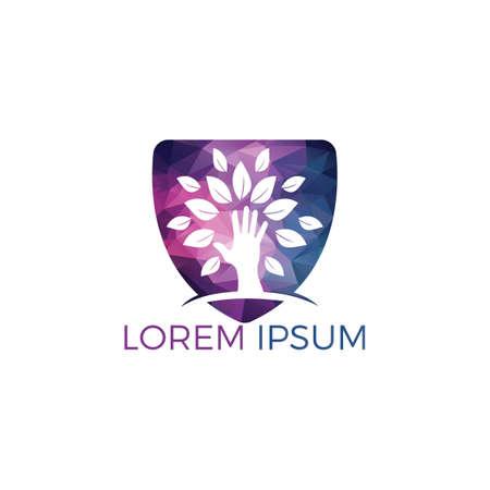 Creative green hand tree logo design. Natural products logo. Cosmetics icon. Spa logo. Beauty salon or yoga logo. Illustration