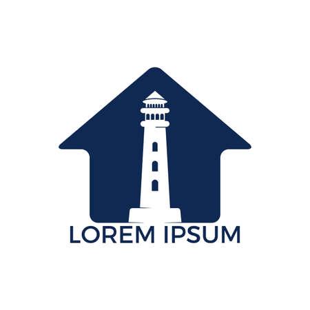 Lighthouse vector logo design. Lighthouse and home icon logo design vector template illustration.