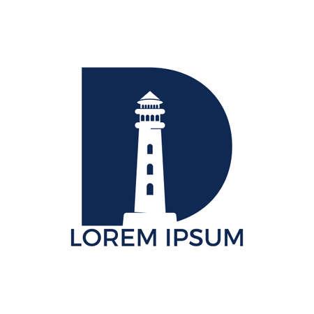 Letter D Lighthouse vector logo design. Lighthouse icon logo design vector template illustration.