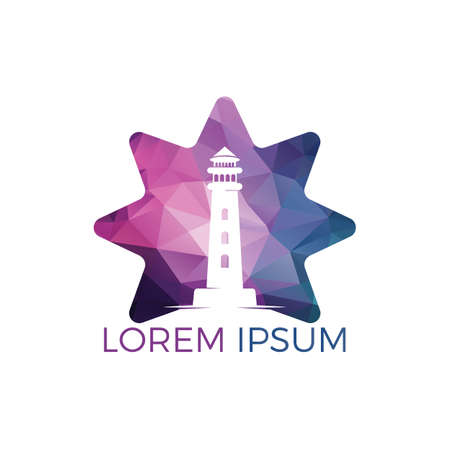 Lighthouse and star vector logo design. Lighthouse icon logo design vector template illustration.
