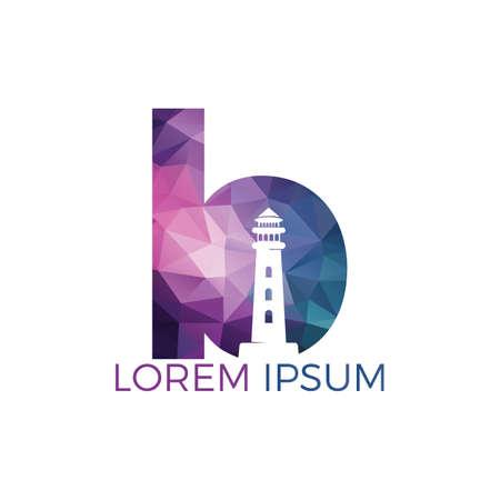 Letter B Lighthouse vector logo design. Lighthouse icon logo design vector template illustration. Stock Illustratie