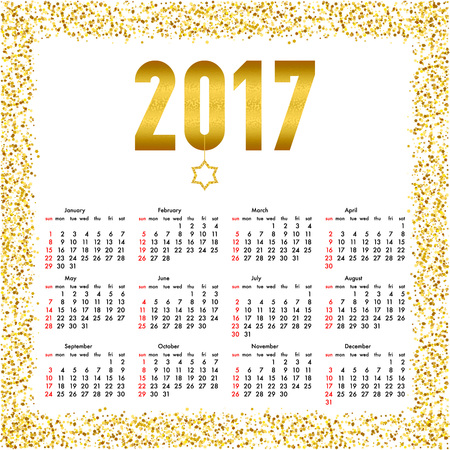 Calendar for 2017 year. Week starts Sunday. Yearly calendar template with text 2017 and star with gold glitter effect. Illusztráció