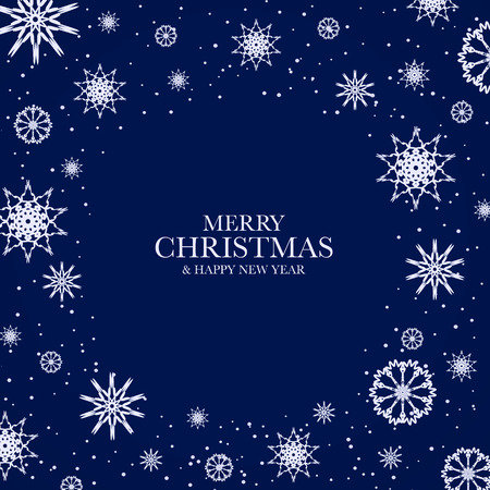 new year frame: Blue Christmas design with white snowflakes and text Merry Christmas & Happy New Year. Frame from snowflakes for your Christmas design.