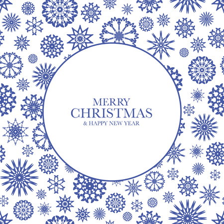 new year frame: Christmas design with blue snowflakes and text Merry Christmas & Happy New Year. Frame from snowflakes for your Christmas design. Illustration