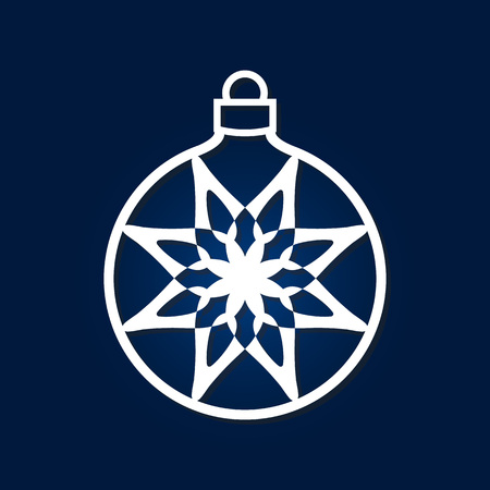 Christmas ball with snowflake inside. Laser cutting template for greeting cards, interior elements, wood carving, paper cutting, scrapbooking. Image suitable for laser cutting, plotter cutting etc