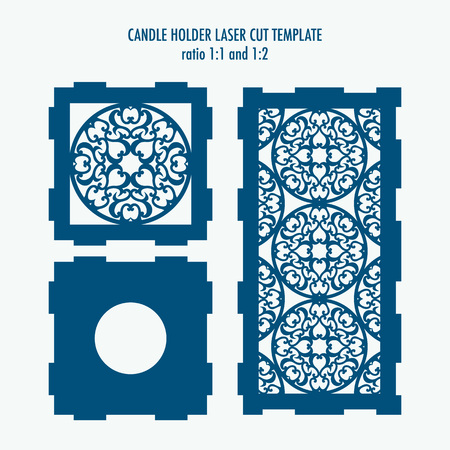 Laser cut template for candle holder. DIY laser cutting template for diy, interior elements, wood carving, paper cutting, scrapbooking Illustration