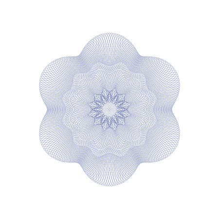 Guilloche decorative rosette element. Digital watermark. It can be used as a protective layer for certificate, voucher, banknote, money design, currency, note, check, ticket, reward etc Illustration