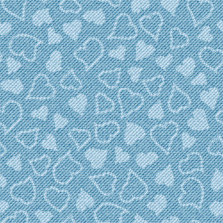 Light blue jean texture with hearts. Denim background