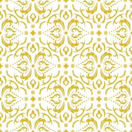 Damask seamless classic pattern. Vintage Baroque delicate background. Classic damask ornament for wallpapers, textile, fabric, wrapping, wedding invitation. Exquisite floral baroque template Illustration
