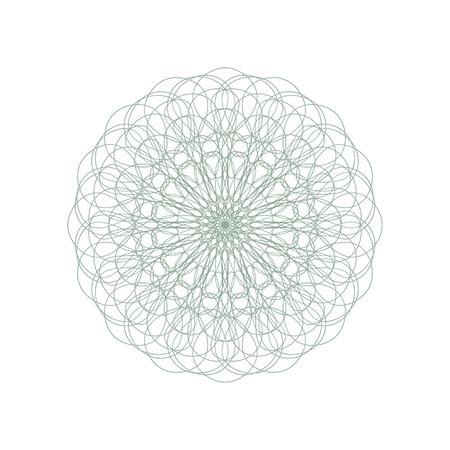 Guilloche装饰玫瑰华饰元素。数字水印。它可以用作证书,凭证,钞票,金钱设计,货币,注意,支票,票,奖励等的保护层