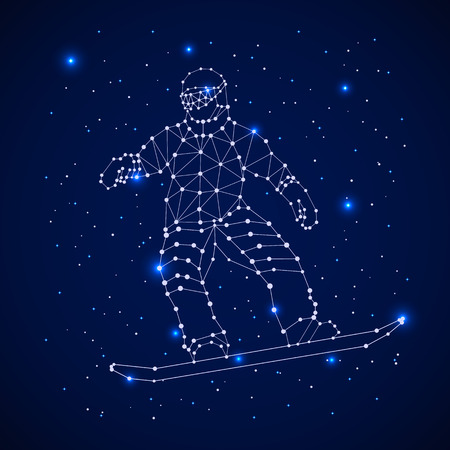 Constellation - Snowboarder. Celestial map with the constellation in the form of Snowboarder. Astronomy space and stars illustration Illustration