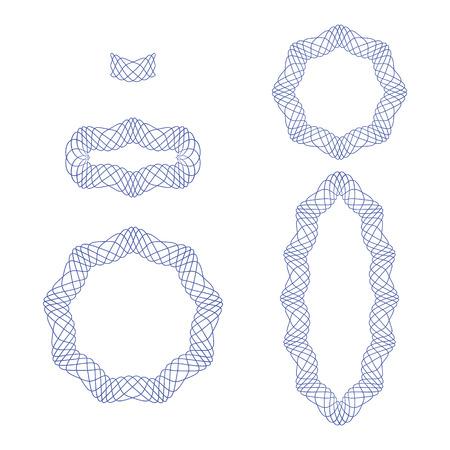 ギョーシェ装飾的な要素と線形パターン パターン ブラシとして使用するため。証明書、バウチャー、紙幣、マネー デザイン、通貨、メモ、チェッ
