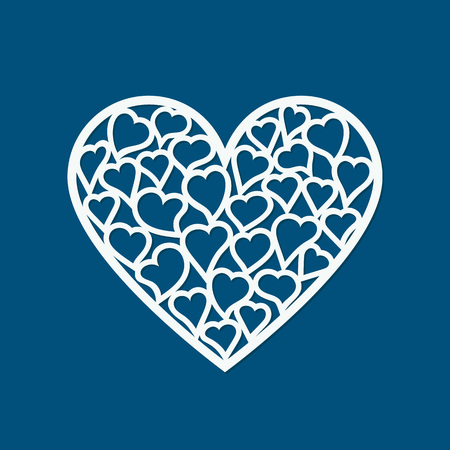 paper heart: Laser cut Valentines day card with hearts. Laser cutting template for diy, greeting cards, envelopes, wedding invitations, decorative elements Illustration