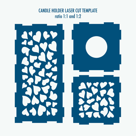 Laser cut template for candle holder. DIY laser cutting template for diy, interior elements, wood carving, paper cutting, scrapbooking