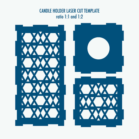 candle holder: Laser cut template for candle holder. DIY laser cutting template for diy, interior elements, wood carving, paper cutting, scrapbooking Illustration