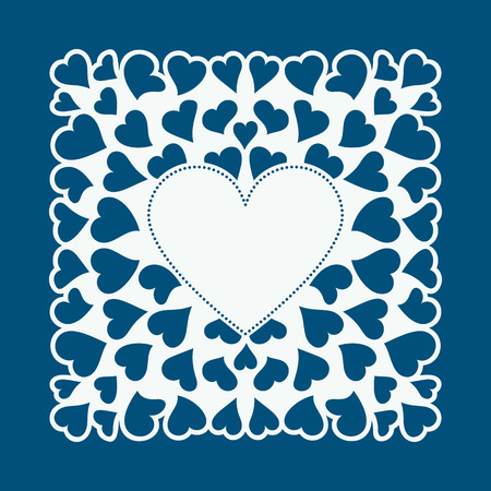 Laser cut card with hearts. Laser cutting template for diy, greeting cards, envelopes, wedding invitations, decorative elements