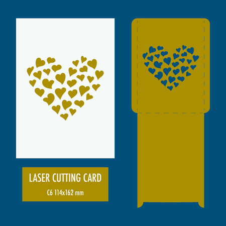 Template - envelope for laser cut. Wedding invitation envelope for cutting machine or laser cutting. Suitable for greeting cards, invitations, menu Vectores