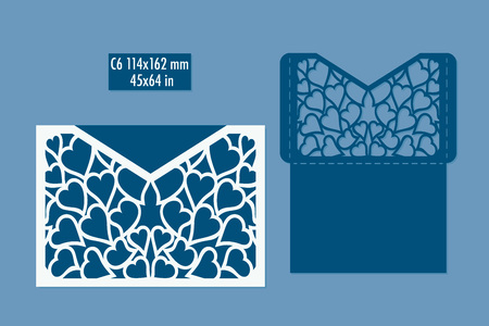 Template - envelope for laser cut with hearts. DIY laser cutting envelope. Wedding invitation envelope for cutting machine or laser cutting. Suitable for greeting cards, invitations, menus