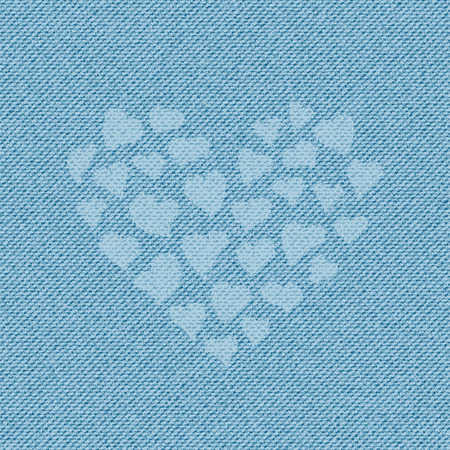 Light blue jean texture with a lot of heart, containing little hearts. Denim background Illustration