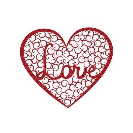 Word Love is enclosed in a large heart with red glitter effect. Valentines day card with pink heart with swirls and letters Love Illustration