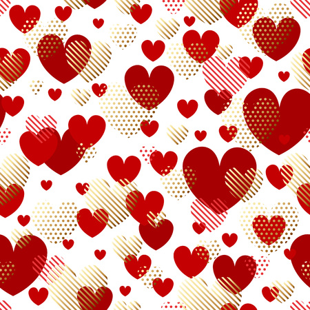 Valentines Day seamless modern luxury pattern. Festive abstract background with gold and red hearts for cards, banners, posters, wallpapers, textiles, fabrics, wrapping papers, packaging etc Illustration