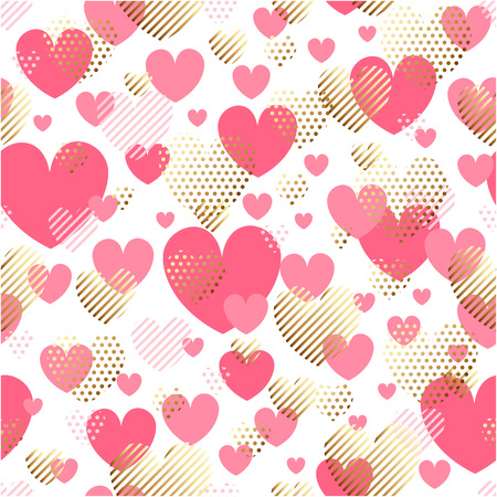 Valentines Day seamless modern luxury pattern. Festive abstract background with gold and pink hearts for cards, banners, posters, wallpapers, textiles, fabrics, wrapping papers, packaging etc