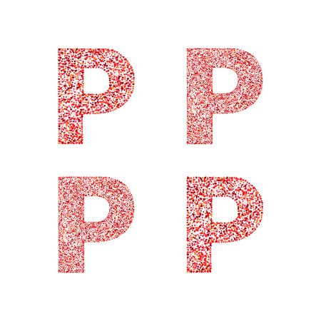 Alphabet Letter P With Red Heart On Valentines Day Of