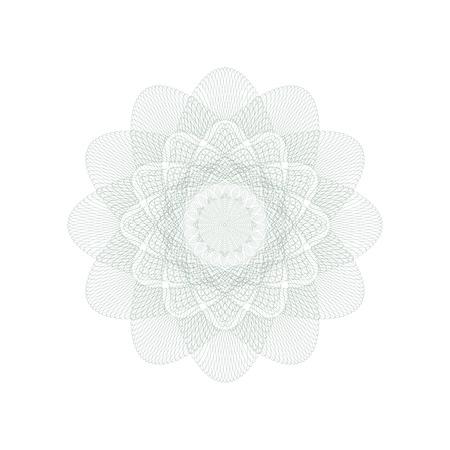 ギョーシェ装飾的なロゼットの要素。電子透かし。証明書、バウチャー、紙幣、マネー デザイン、通貨、メモ、チェック、チケット、報酬などの保