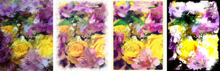 Abstract Painted Roses Set Stock Photo
