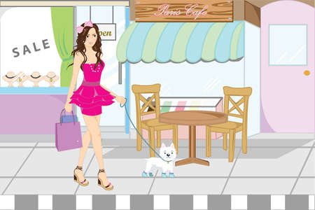 illustration of a woman shopping while walking her dog