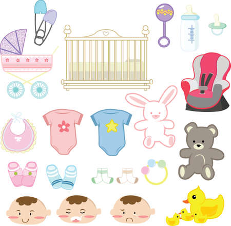 items:  illustration of a collection of baby items
