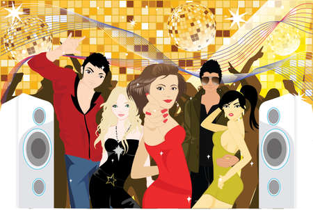 illustration of a group of young people partying in a club
