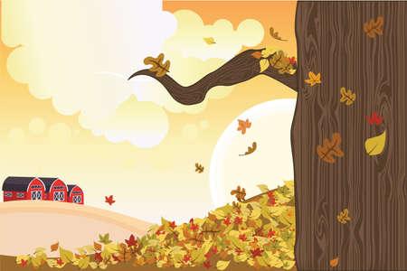 illustration of falling leaves during autumn season Иллюстрация