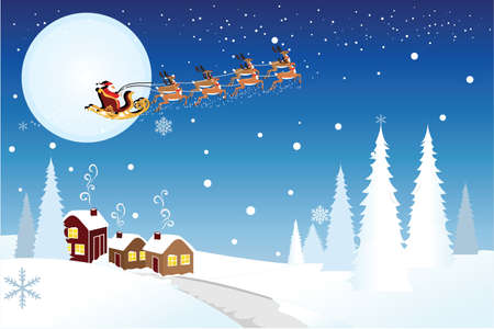 illustration of Santa Claus riding the the sleigh pulled by reindeers in the middle of winter night Vector