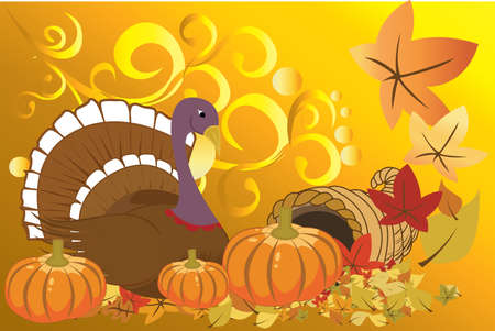 fall harvest:  illustration of turkey and pumpkins for Thanksgiving celebration
