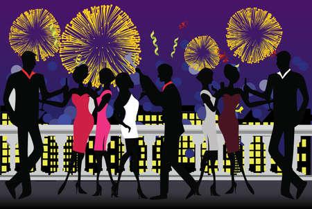 rooftop: illustratie van een nieuwe jaar partij feest met vuur werk