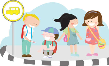 classmate:  illustration of a group of children waiting for their school bus at a bus stop