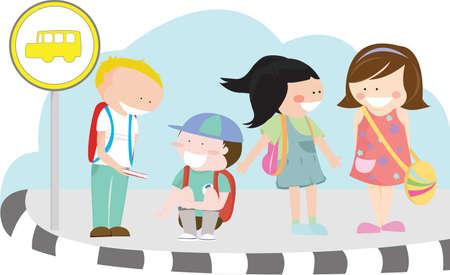 fermata bus: illustrazione di un gruppo di bambini in attesa di loro a una fermata del bus della scuola