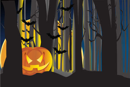 illustration of a lighted pumpkin in the dark forest Çizim