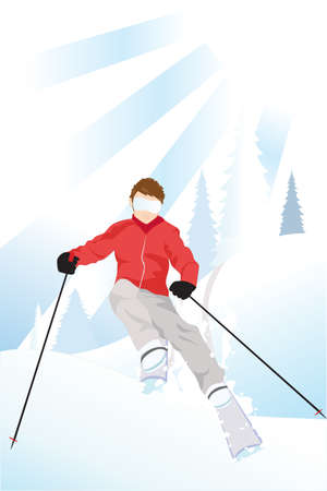 downhill skiing:  illustration of a skier skiing in the mountain Illustration