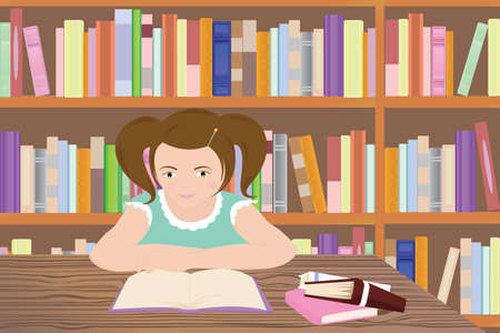 illustration of a girl studying in a library Vettoriali