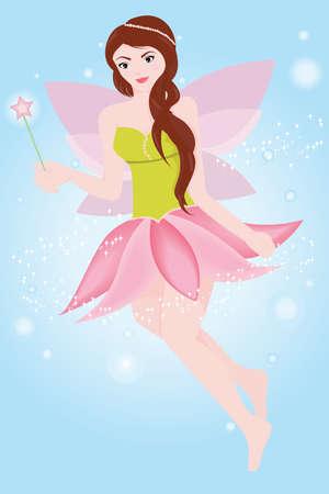 girl magic wand: Fairy princess Illustration